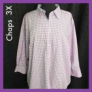 Chaps Purple Check No Iron 100% Cotton Shirt